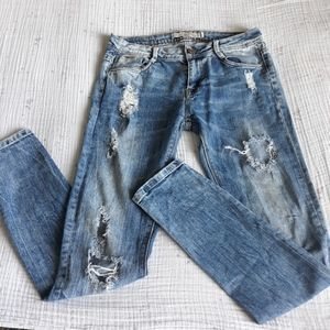 Zara Trafaluc light wash slim fit distressed jeans